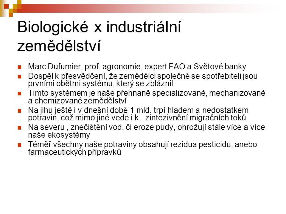 Biologické x industriální zemědělství Marc Dufumier, prof. agronomie, expert FAO a Světové banky Dospěl k přesvědčení, že zemědělci společně se spotře