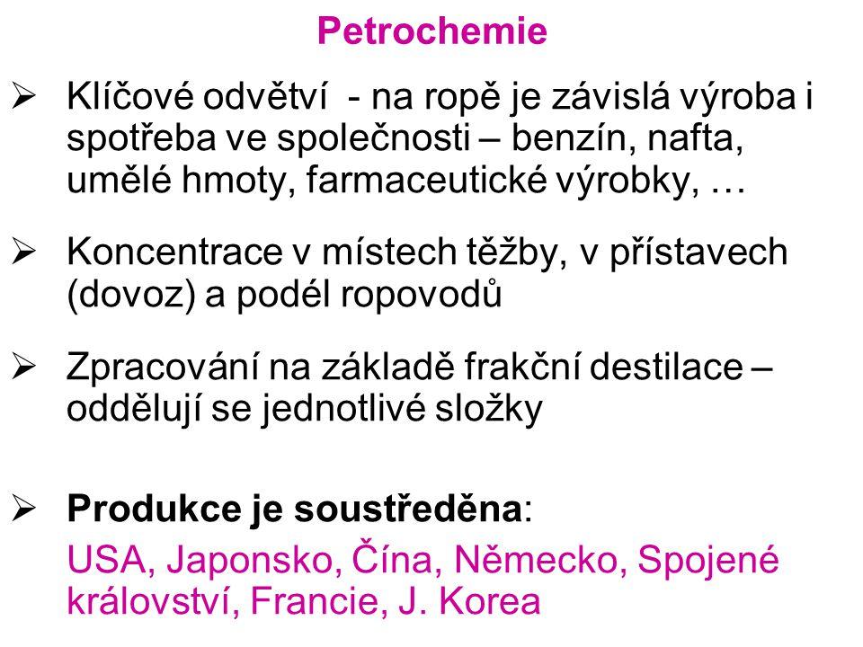 Petrochemie  Klíčové odvětví - na ropě je závislá výroba i spotřeba ve společnosti – benzín, nafta, umělé hmoty, farmaceutické výrobky, …  Koncentrace v místech těžby, v přístavech (dovoz) a podél ropovodů  Zpracování na základě frakční destilace – oddělují se jednotlivé složky  Produkce je soustředěna: USA, Japonsko, Čína, Německo, Spojené království, Francie, J.