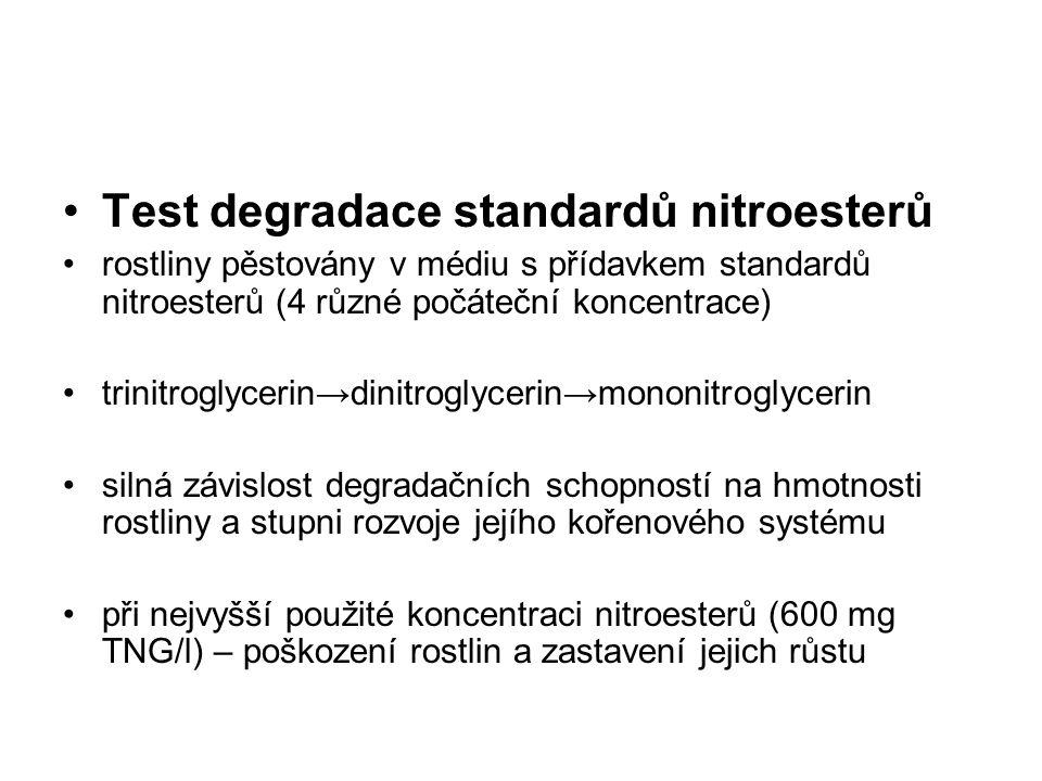 Test degradace standardů nitroesterů rostliny pěstovány v médiu s přídavkem standardů nitroesterů (4 různé počáteční koncentrace) trinitroglycerin→din