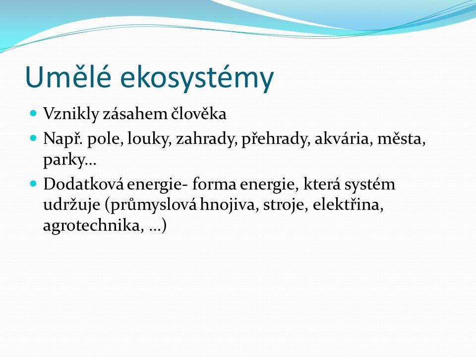 Umělé ekosystémy Vznikly zásahem člověka Např. pole, louky, zahrady, přehrady, akvária, města, parky… Dodatková energie- forma energie, která systém u