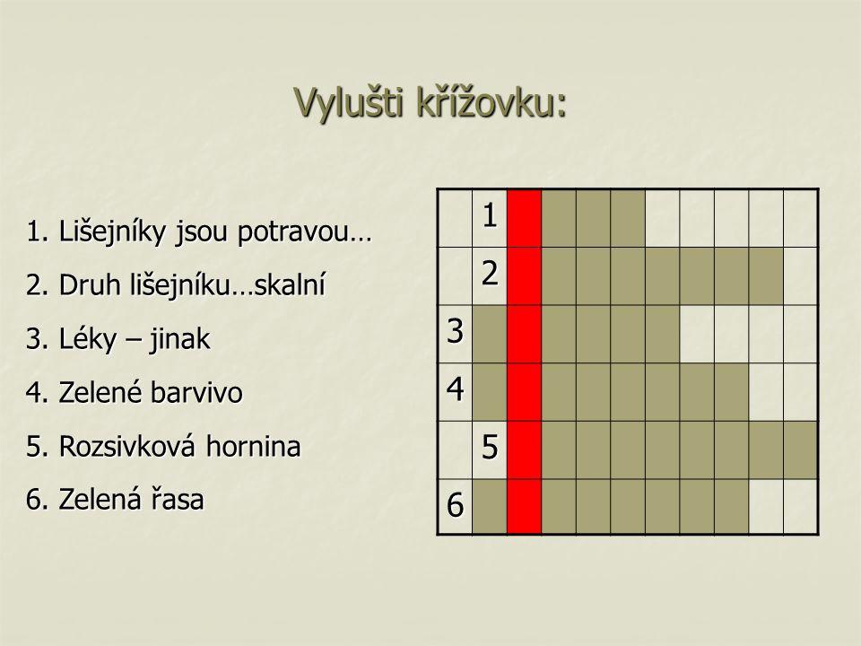 Vylušti křížovku: 1. Lišejníky jsou potravou… 2. Druh lišejníku…skalní 3. Léky – jinak 4. Zelené barvivo 5. Rozsivková hornina 6. Zelená řasa 1 2 3 4