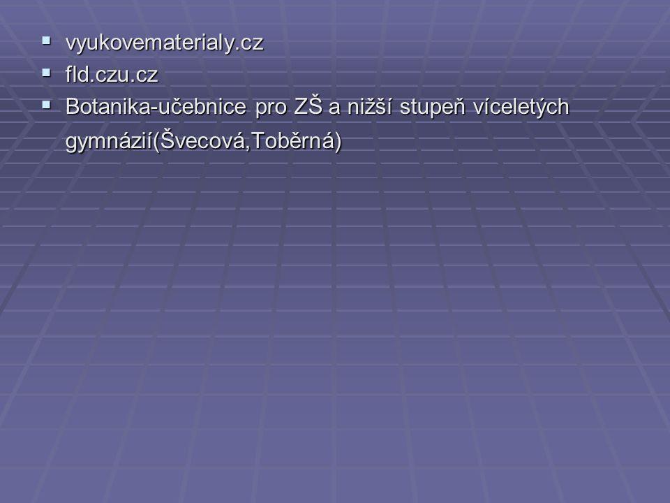  vyukovematerialy.cz  fld.czu.cz  Botanika-učebnice pro ZŠ a nižší stupeň víceletých gymnázií(Švecová,Toběrná)