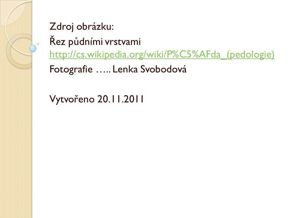 Zdroj obrázku: Řez půdními vrstvami http://cs.wikipedia.org/wiki/P%C5%AFda_(pedologie) http://cs.wikipedia.org/wiki/P%C5%AFda_(pedologie) Fotografie …..