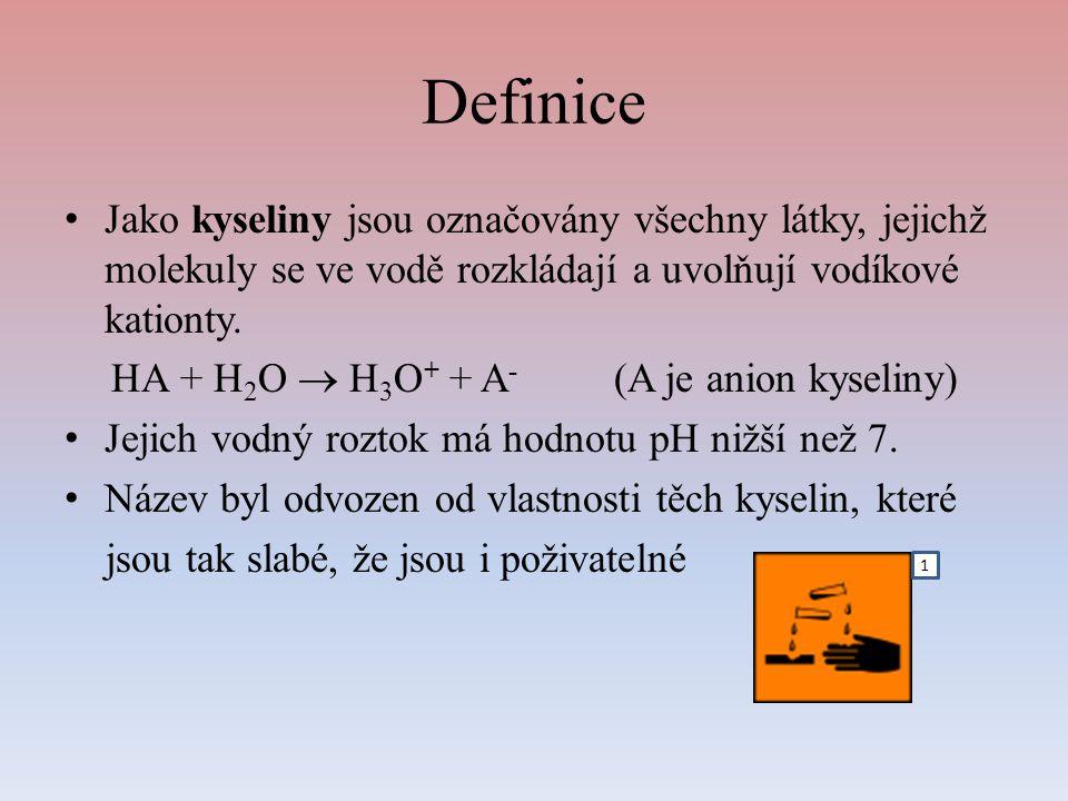 Definice Jako kyseliny jsou označovány všechny látky, jejichž molekuly se ve vodě rozkládají a uvolňují vodíkové kationty.