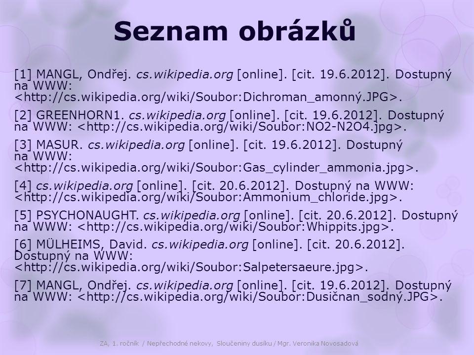 Seznam obrázků [1] MANGL, Ondřej. cs.wikipedia.org [online]. [cit. 19.6.2012]. Dostupný na WWW:. [2] GREENHORN1. cs.wikipedia.org [online]. [cit. 19.6