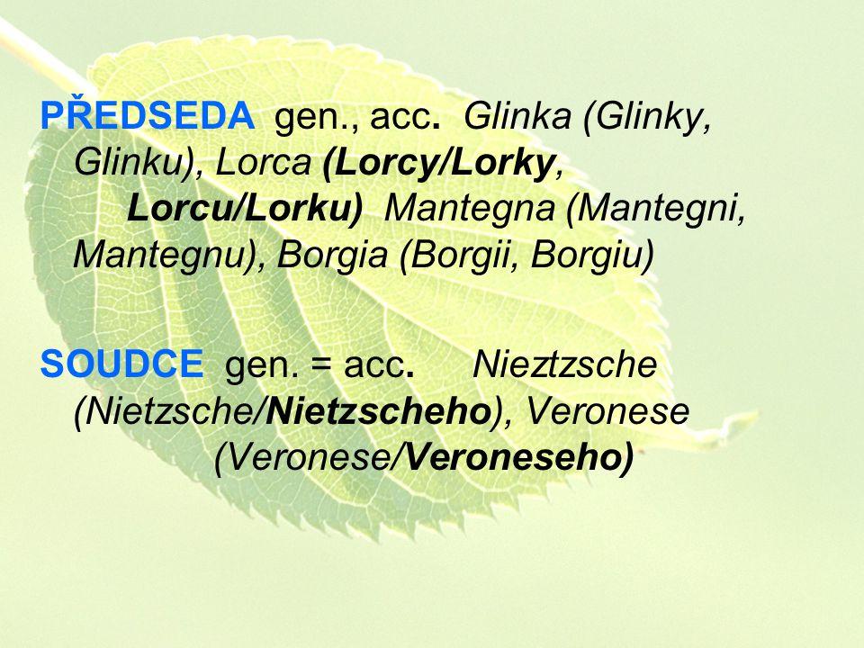 PŘEDSEDA gen., acc. Glinka (Glinky, Glinku), Lorca (Lorcy/Lorky, Lorcu/Lorku) Mantegna (Mantegni, Mantegnu), Borgia (Borgii, Borgiu) SOUDCE gen. = acc