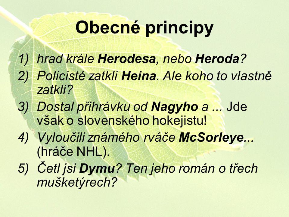 Obecné principy 1)hrad krále Herodesa, nebo Heroda? 2)Policisté zatkli Heina. Ale koho to vlastně zatkli? 3)Dostal přihrávku od Nagyho a... Jde však o