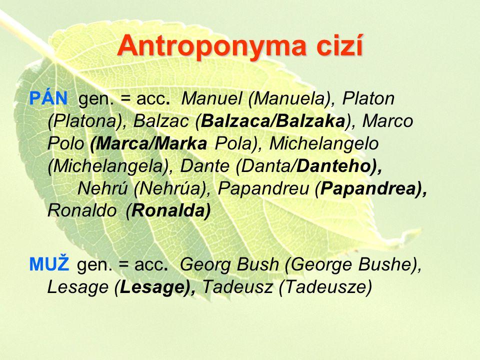 Antroponyma cizí PÁN gen. = acc. Manuel (Manuela), Platon (Platona), Balzac (Balzaca/Balzaka), Marco Polo (Marca/Marka Pola), Michelangelo (Michelange
