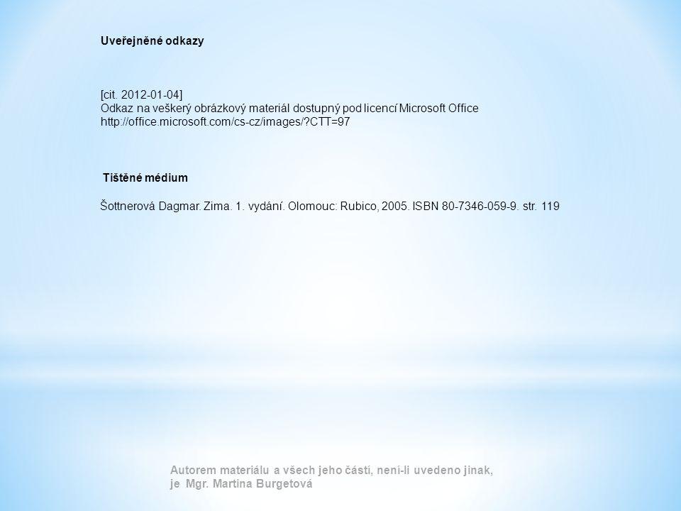 Uveřejněné odkazy [cit. 2012-01-04] Odkaz na veškerý obrázkový materiál dostupný pod licencí Microsoft Office http://office.microsoft.com/cs-cz/images