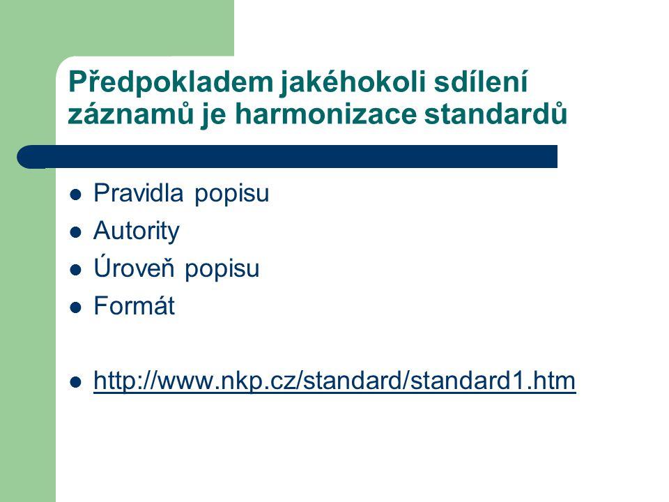Předpokladem jakéhokoli sdílení záznamů je harmonizace standardů Pravidla popisu Autority Úroveň popisu Formát http://www.nkp.cz/standard/standard1.ht