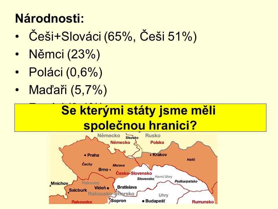 Národnosti: Češi+Slováci (65%, Češi 51%) Němci (23%) Poláci (0,6%) Maďaři (5,7%) Rusíni (3,4%) Celkem 13,5 mil. obyvatel Se kterými státy jsme měli sp