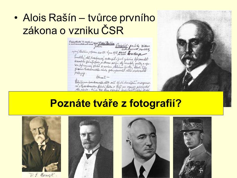 Alois Rašín – tvůrce prvního zákona o vzniku ČSR Poznáte tváře z fotografií?