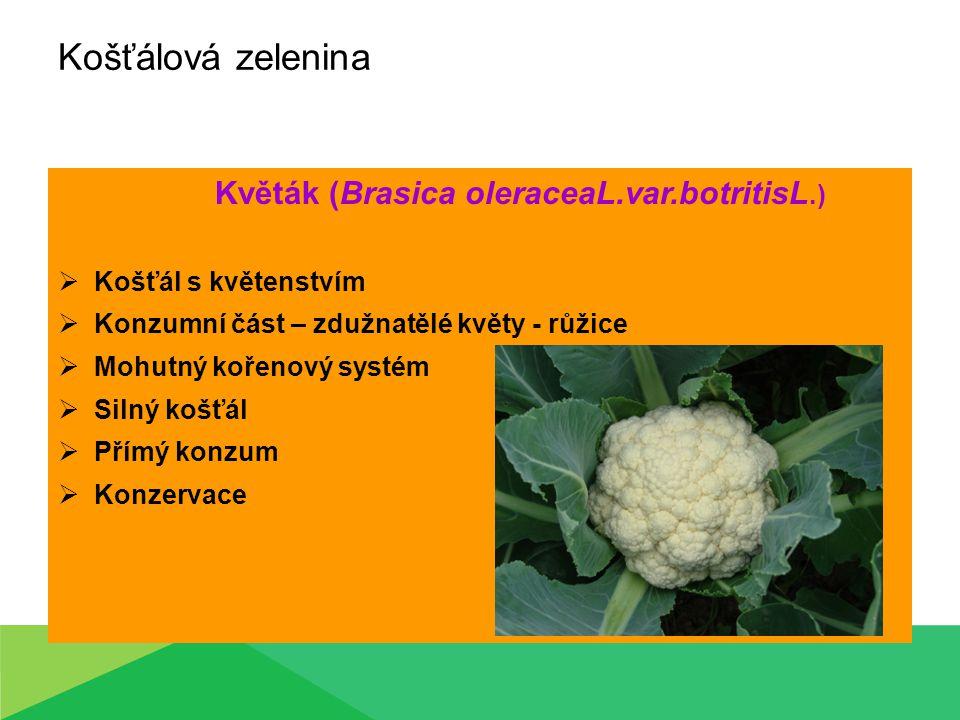 Košťálová zelenina Květák (Brasica oleraceaL.var.botritisL.)  Košťál s květenstvím  Konzumní část – zdužnatělé květy - růžice  Mohutný kořenový sys