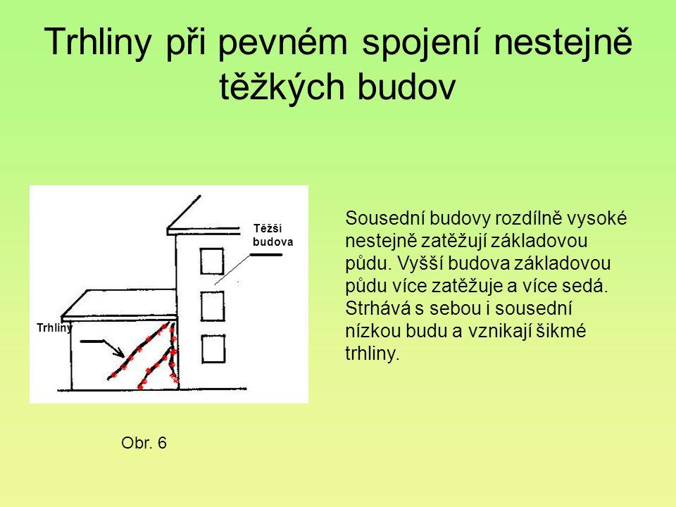 Trhliny při pevném spojení nestejně těžkých budov Sousední budovy rozdílně vysoké nestejně zatěžují základovou půdu. Vyšší budova základovou půdu více