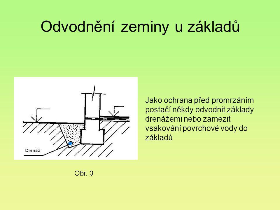 Odvodnění zeminy u základů Jako ochrana před promrzáním postačí někdy odvodnit základy drenážemi nebo zamezit vsakování povrchové vody do základů Obr.