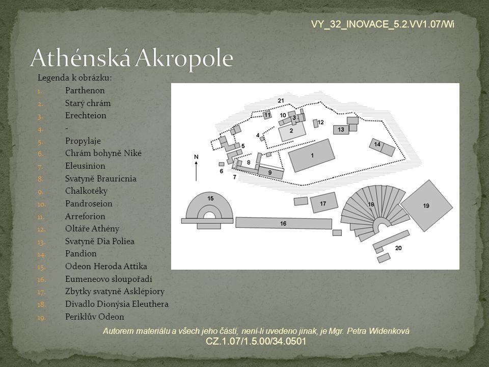 Legenda k obrázku: 1. Parthenon 2. Starý chrám 3. Erechteion 4. - 5. Propylaje 6. Chrám bohyně Niké 7. Eleusinion 8. Svatyně Brauricnia 9. Chalkotéky
