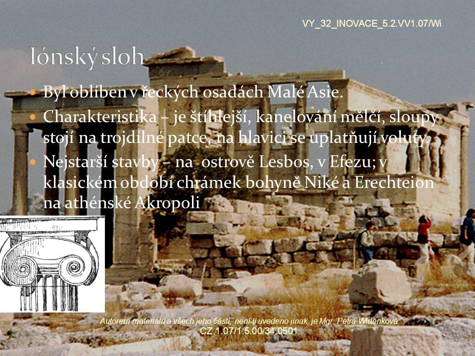 Byl oblíben v řeckých osadách Malé Asie. Charakteristika – je štíhlejší, kanelování mělčí, sloupy stojí na trojdílné patce, na hlavici se uplatňují vo