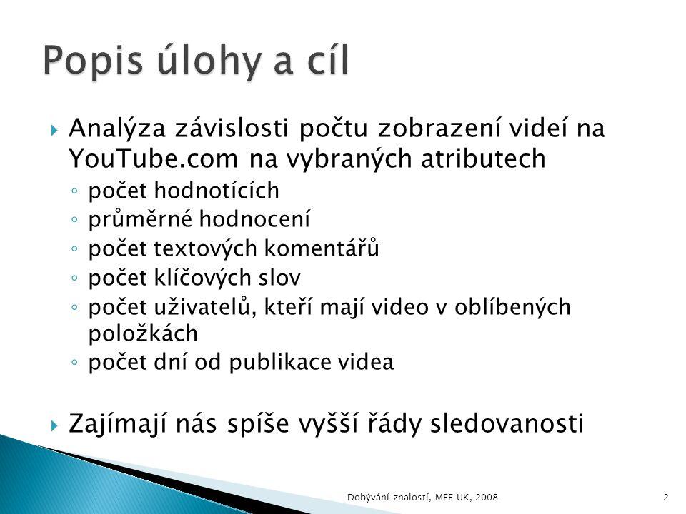  Analýza závislosti počtu zobrazení videí na YouTube.com na vybraných atributech ◦ počet hodnotících ◦ průměrné hodnocení ◦ počet textových komentářů ◦ počet klíčových slov ◦ počet uživatelů, kteří mají video v oblíbených položkách ◦ počet dní od publikace videa  Zajímají nás spíše vyšší řády sledovanosti 2Dobývání znalostí, MFF UK, 2008