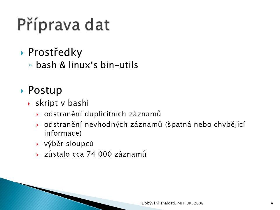  Prostředky ◦ bash & linux's bin-utils  Postup  skript v bashi  odstranění duplicitních záznamů  odstranění nevhodných záznamů (špatná nebo chybějící informace)  výběr sloupců  zůstalo cca 74 000 záznamů 4Dobývání znalostí, MFF UK, 2008