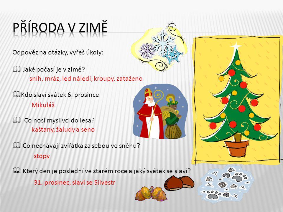 Odpověz na otázky, vyřeš úkoly:  Jaké počasí je v zimě?  Kdo slaví svátek 6. prosince  Co nosí myslivci do lesa?  Co nechávají zvířátka za sebou v