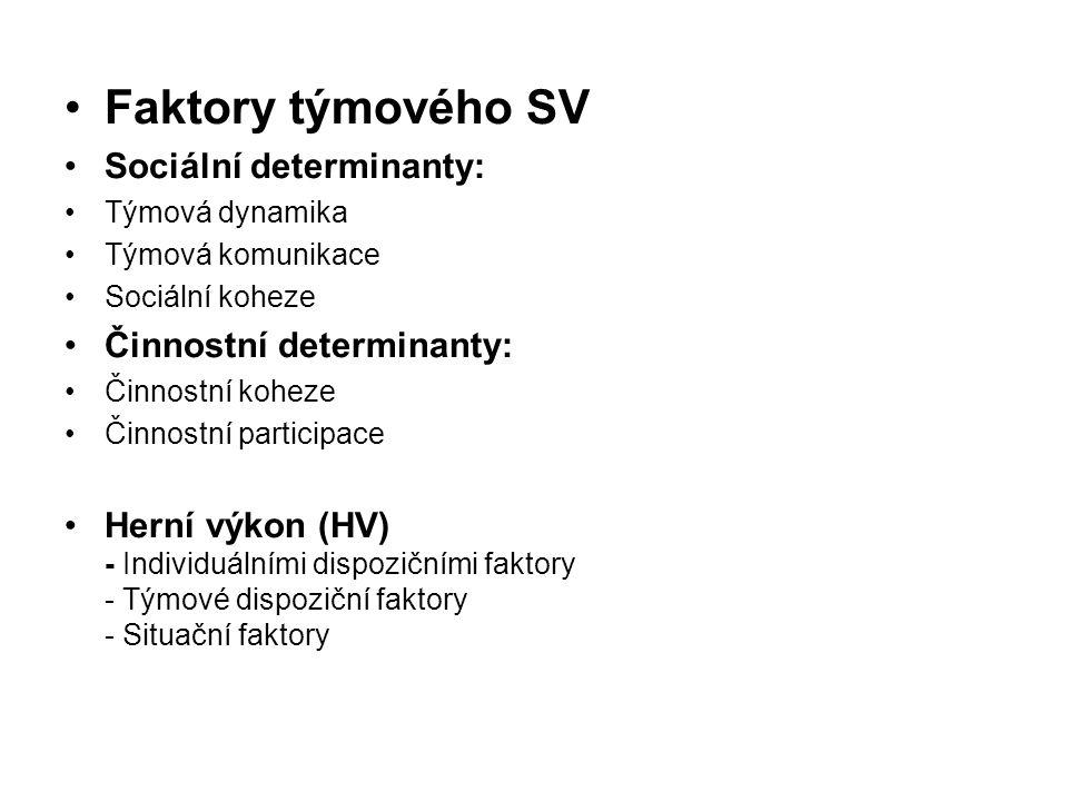 Faktory týmového SV Sociální determinanty: Týmová dynamika Týmová komunikace Sociální koheze Činnostní determinanty: Činnostní koheze Činnostní partic