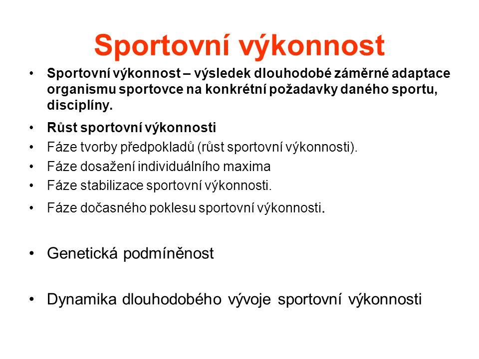 Sportovní výkonnost Sportovní výkonnost – výsledek dlouhodobé záměrné adaptace organismu sportovce na konkrétní požadavky daného sportu, disciplíny. R
