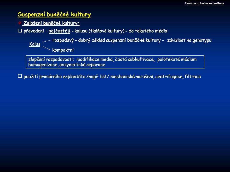 Suspenzní buněčné kultury Tkáňové a buněčné kultury  Založení buněčné kultury:  převedení – nejčastěji - kalusu (tkáňové kultury) - do tekutého média Kalus rozpadavý – dobrý základ suspenzní buněčné kultury - kompaktní závislost na genotypu zlepšení rozpadavosti: modifikace media, častá subkultivace, polotekuté médium homogenizace, enzymatická separace  použití primárního explantátu /např.