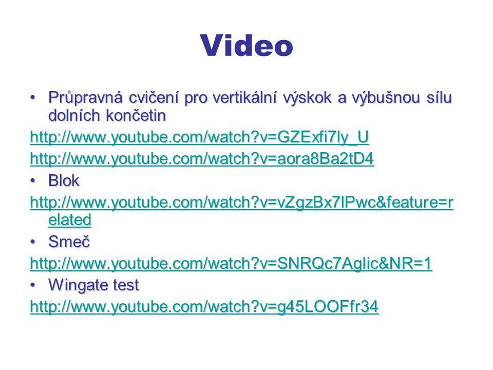 Video Průpravná cvičení pro vertikální výskok a výbušnou sílu dolních končetinPrůpravná cvičení pro vertikální výskok a výbušnou sílu dolních končetin http://www.youtube.com/watch?v=GZExfi7ly_U http://www.youtube.com/watch?v=aora8Ba2tD4 BlokBlok http://www.youtube.com/watch?v=vZgzBx7lPwc&feature=r elated http://www.youtube.com/watch?v=vZgzBx7lPwc&feature=r elated SmečSmeč http://www.youtube.com/watch?v=SNRQc7AgIic&NR=1 Wingate testWingate test http://www.youtube.com/watch?v=g45LOOFfr34