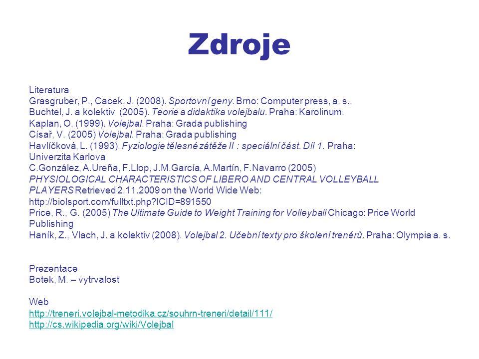 Zdroje Literatura Grasgruber, P., Cacek, J.(2008).