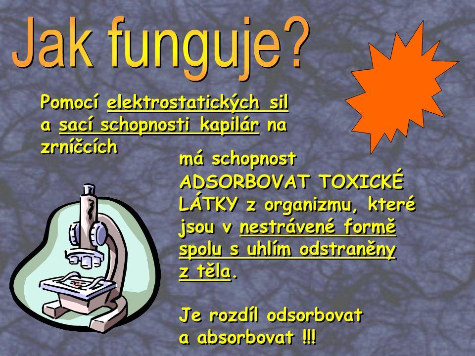 2) CARBO VEGETABILIS - z tvrdého dřeva (vrba, borovice, eukalyptus, dub) Obsahuje: 90 % Uhlíku 1 cm 3 : 1000 m 2 adsorpční plochy 8 x více, než živočišné uhlí 2) CARBO VEGETABILIS - z tvrdého dřeva (vrba, borovice, eukalyptus, dub) Obsahuje: 90 % Uhlíku 1 cm 3 : 1000 m 2 adsorpční plochy 8 x více, než živočišné uhlí 1) CARBO ANIMALIS - z kostí, krve a těla zvířat Obsahuje: 11 % Uhlíku 9 % Uhličitanu vápenatého 78 % Fosforečnanu vápenatého 1) CARBO ANIMALIS - z kostí, krve a těla zvířat Obsahuje: 11 % Uhlíku 9 % Uhličitanu vápenatého 78 % Fosforečnanu vápenatého