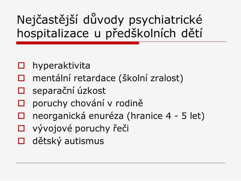 Nejčastější důvody psychiatrické hospitalizace u předškolních dětí  hyperaktivita  mentální retardace (školní zralost)  separační úzkost  poruchy chování v rodině  neorganická enuréza (hranice 4 - 5 let)  vývojové poruchy řeči  dětský autismus