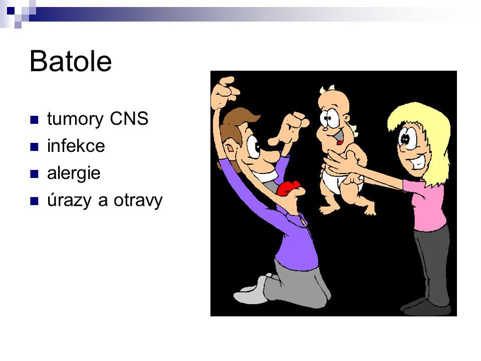 Batole tumory CNS infekce alergie úrazy a otravy