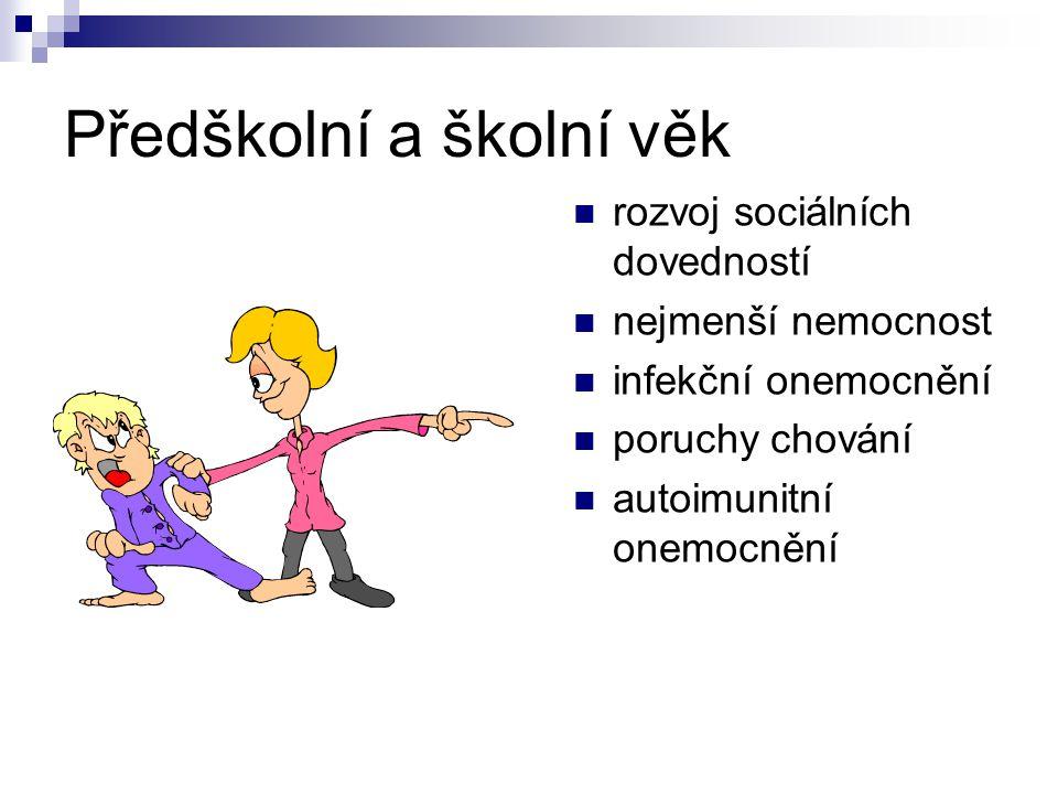 Předškolní a školní věk rozvoj sociálních dovedností nejmenší nemocnost infekční onemocnění poruchy chování autoimunitní onemocnění