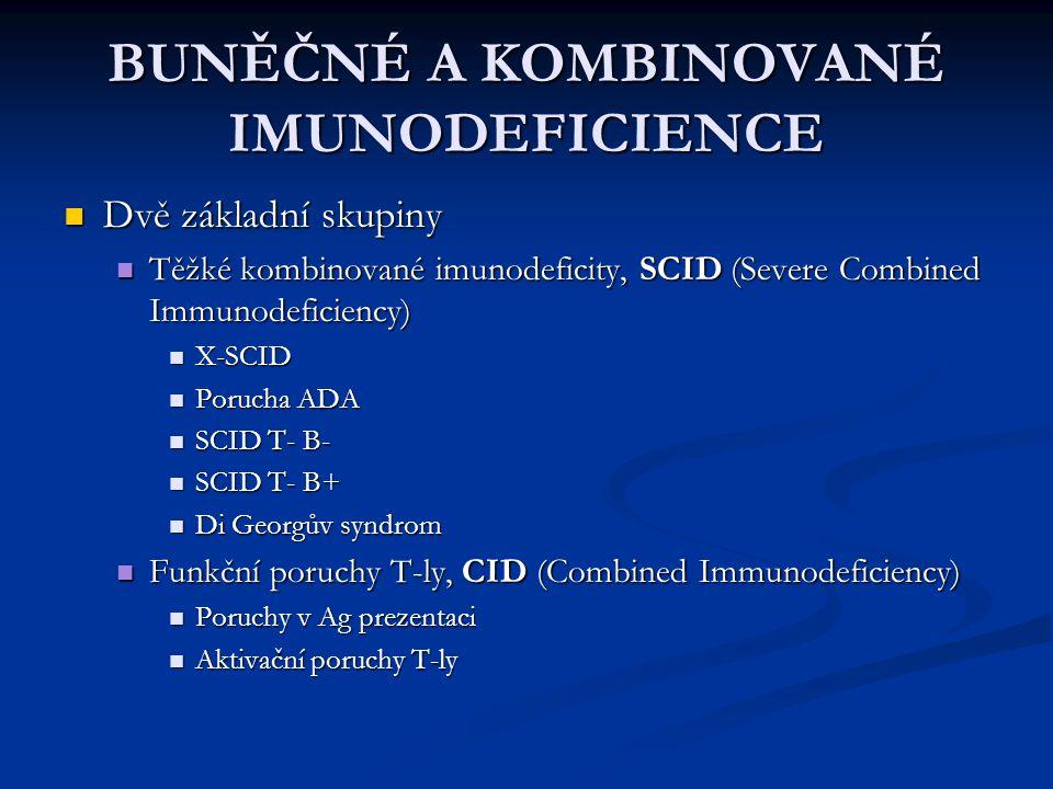 BUNĚČNÉ A KOMBINOVANÉ IMUNODEFICIENCE Dvě základní skupiny Dvě základní skupiny Těžké kombinované imunodeficity, SCID (Severe Combined Immunodeficienc