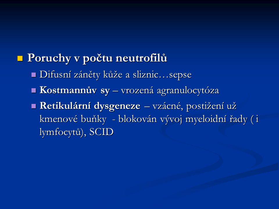 Poruchy v počtu neutrofilů Poruchy v počtu neutrofilů Difusní záněty kůže a sliznic…sepse Difusní záněty kůže a sliznic…sepse Kostmannův sy – vrozená
