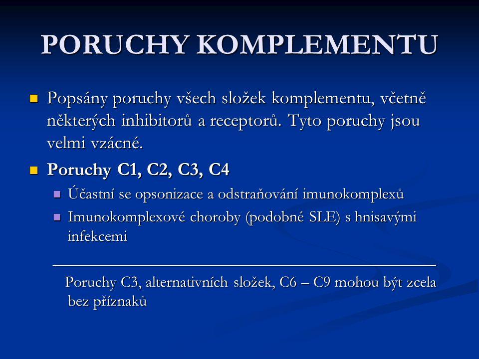 PORUCHY KOMPLEMENTU Popsány poruchy všech složek komplementu, včetně některých inhibitorů a receptorů. Tyto poruchy jsou velmi vzácné. Popsány poruchy