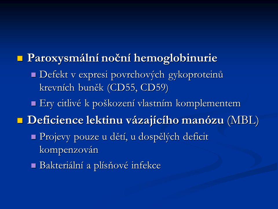 Paroxysmální noční hemoglobinurie Paroxysmální noční hemoglobinurie Defekt v expresi povrchových gykoproteinů krevních buněk (CD55, CD59) Defekt v exp