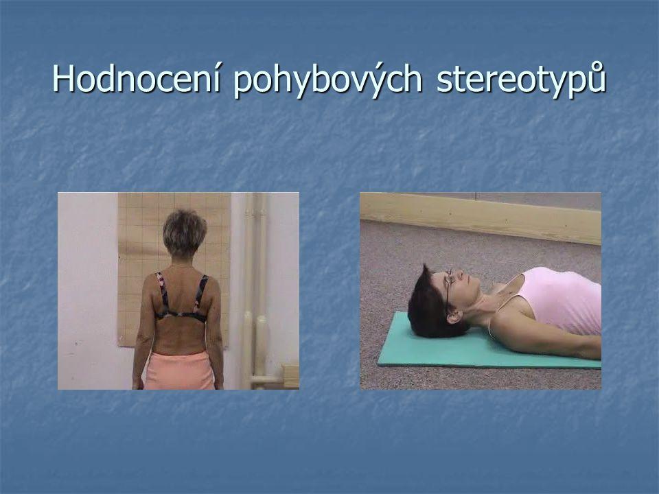 Hodnocení svalových dysbalancí SVALY TONICKÉ  bederní vzpřimovače  ischiokrurální svaly  šíjové vzpřimovače páteře  prsní svaly  prsní svaly  bedrokyčlostehenní sv.