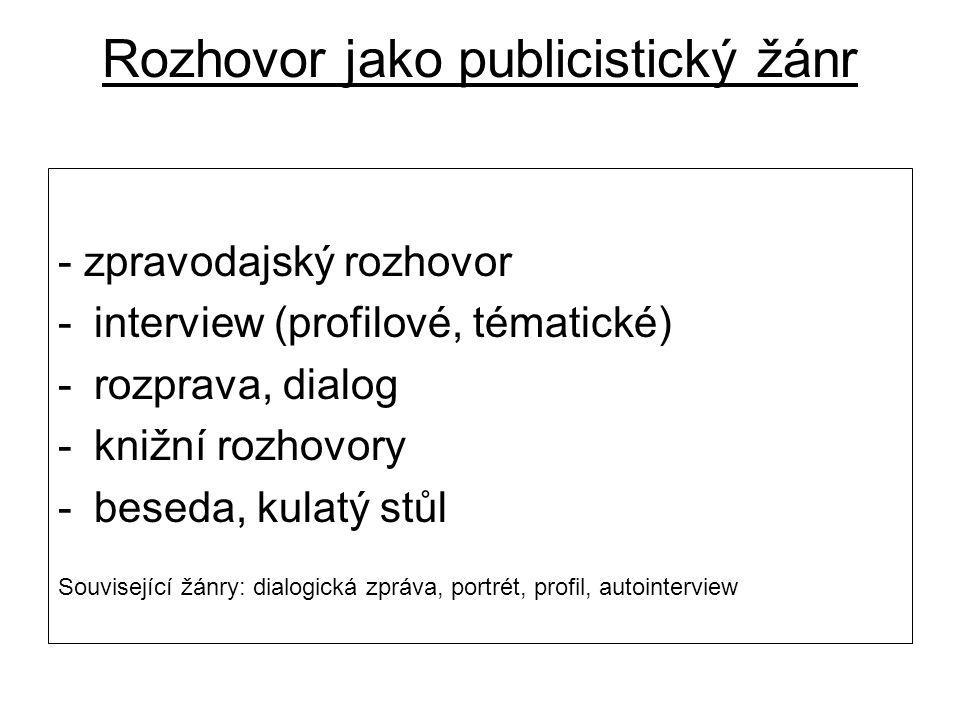 Rozhovor jako publicistický žánr - zpravodajský rozhovor -interview (profilové, tématické) -rozprava, dialog -knižní rozhovory -beseda, kulatý stůl Související žánry: dialogická zpráva, portrét, profil, autointerview