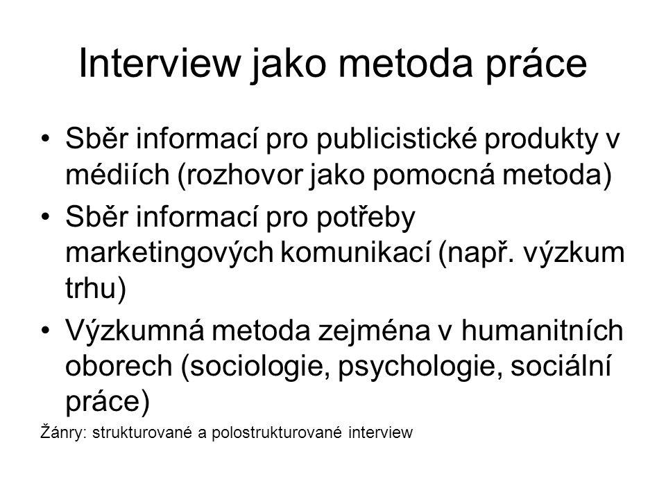 Interview jako metoda práce Sběr informací pro publicistické produkty v médiích (rozhovor jako pomocná metoda) Sběr informací pro potřeby marketingových komunikací (např.