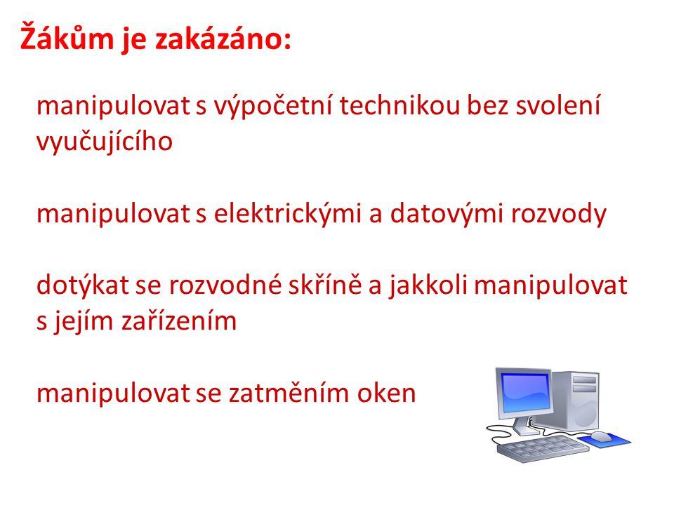 Žákům je zakázáno: manipulovat s výpočetní technikou bez svolení vyučujícího manipulovat s elektrickými a datovými rozvody dotýkat se rozvodné skříně a jakkoli manipulovat s jejím zařízením manipulovat se zatměním oken
