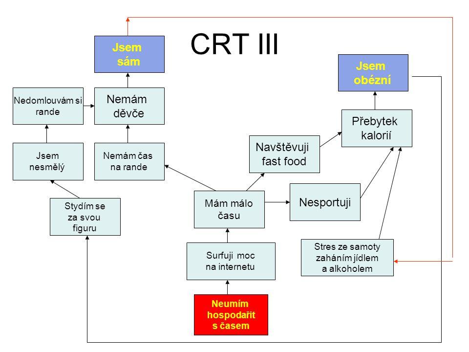 CRT III Neumím hospodařit s časem Surfuji moc na internetu Mám málo času Navštěvuji fast food Nesportuji Přebytek kalorií Jsem obézní Nemám čas na ran