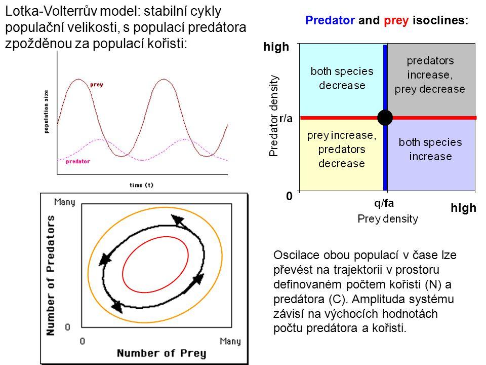 Lotka-Volterrův model: stabilní cykly populační velikosti, s populací predátora zpožděnou za populací kořisti: Predator and prey isoclines: 0 high Osc