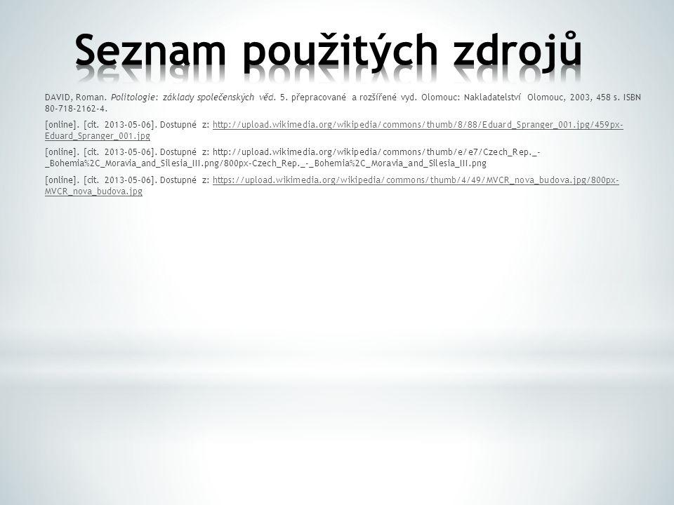 DAVID, Roman. Politologie: základy společenských věd. 5. přepracované a rozšířené vyd. Olomouc: Nakladatelství Olomouc, 2003, 458 s. ISBN 80-718-2162-