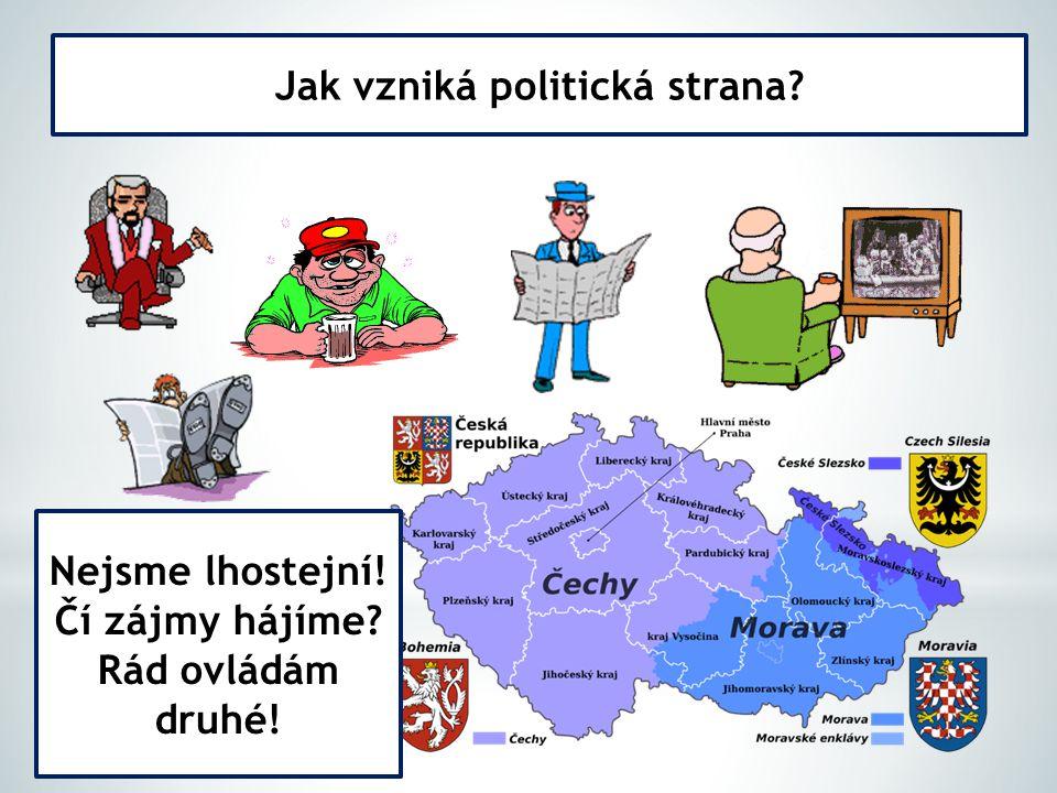 Jak vzniká politická strana? Nejsme lhostejní! Čí zájmy hájíme? Rád ovládám druhé!