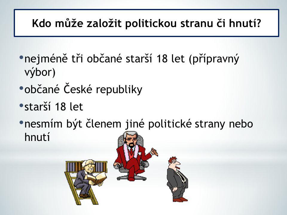 nejméně tři občané starší 18 let (přípravný výbor) občané České republiky starší 18 let nesmím být členem jiné politické strany nebo hnutí Kdo může za
