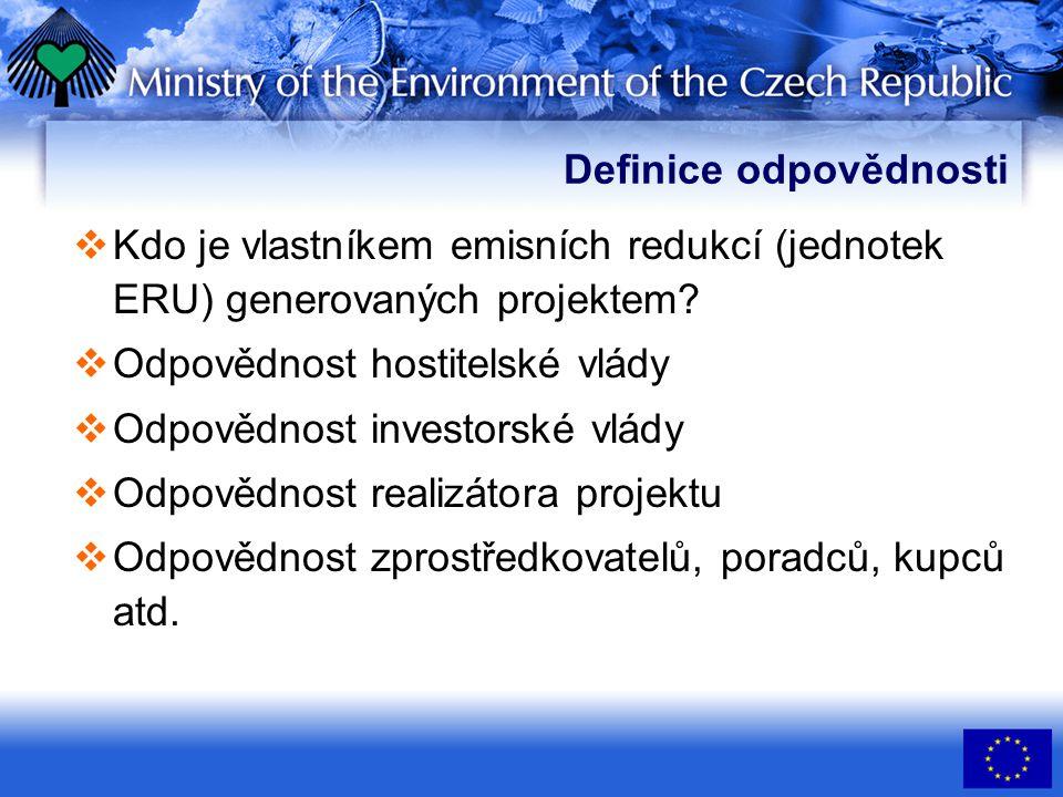 Definice odpovědnosti  Kdo je vlastníkem emisních redukcí (jednotek ERU) generovaných projektem.