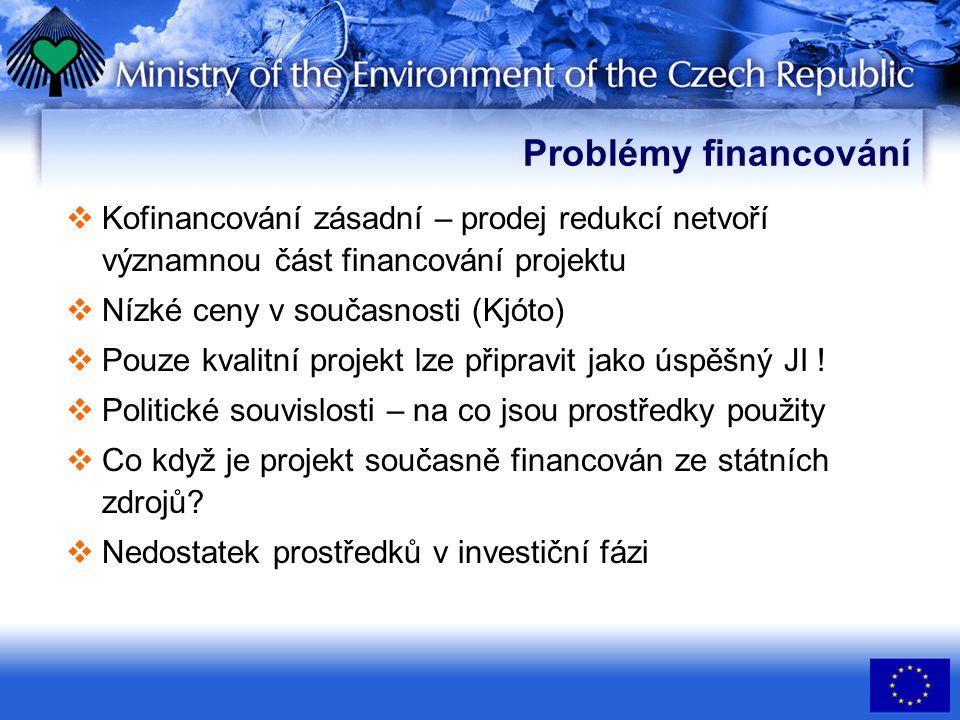Problémy financování  Kofinancování zásadní – prodej redukcí netvoří významnou část financování projektu  Nízké ceny v současnosti (Kjóto)  Pouze kvalitní projekt lze připravit jako úspěšný JI .