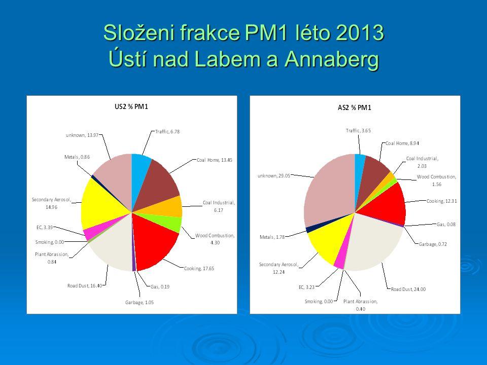 Složeni frakce PM1 léto 2013 Ústí nad Labem a Annaberg