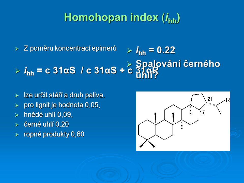 Homohopan index (i hh )  Z poměru koncentrací epimerů  i hh = c 31αS / c 31αS + c 31αR  lze určit stáří a druh paliva.  pro lignit je hodnota 0,05